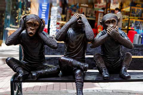 Animal Outdoor Sculptures Three Bronze Monkeys Statues For Garden Decor