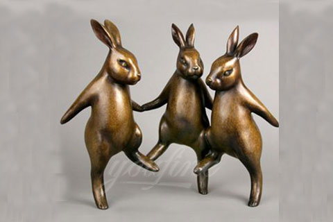 Cute Bronze Rabbit Garden Statue For Decor