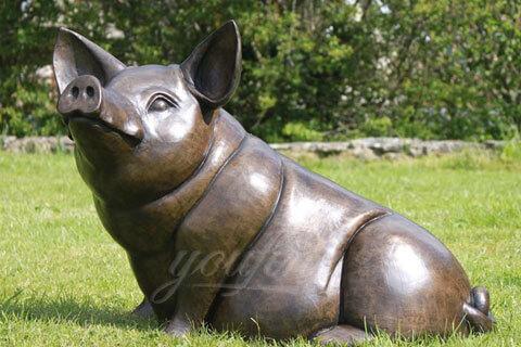 Bronze Large Animal Happy Pig Statue Sculpture For Garden