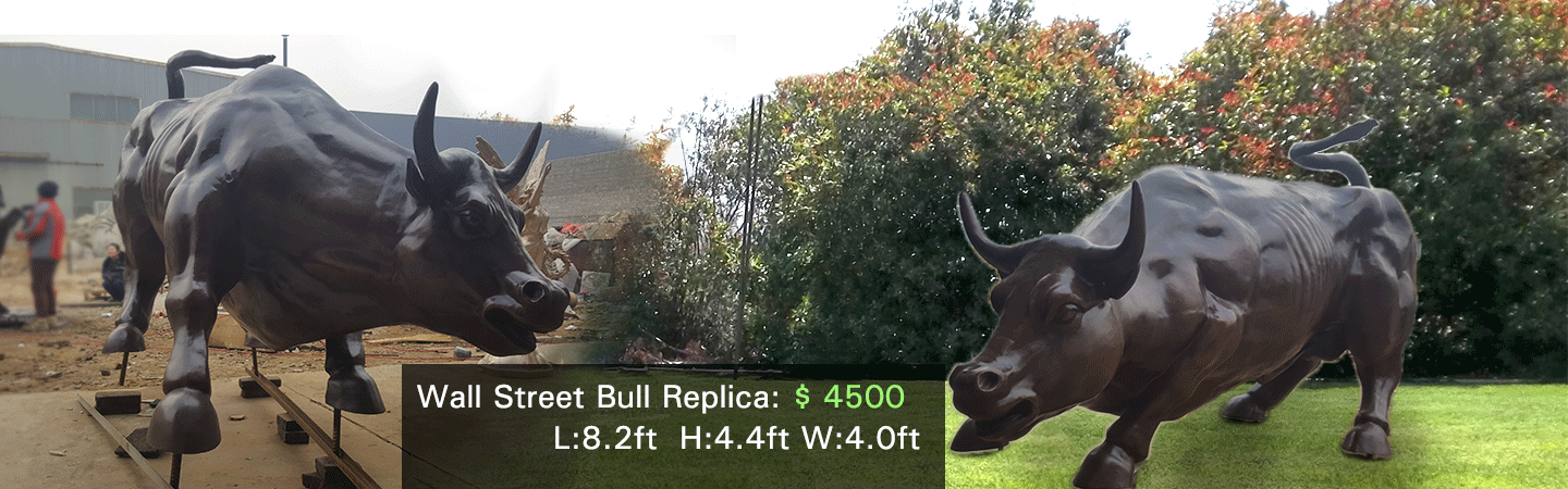 famous wall street bull sculpture replica