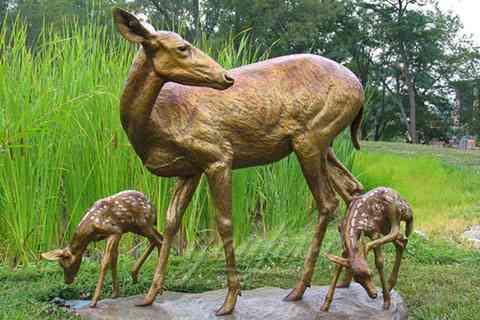 Antique Customized Antique Deer Bronze Animal Sculpture For Sale BOK-220