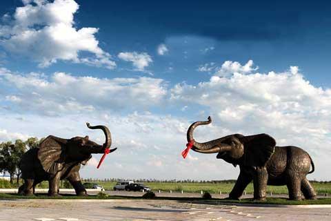 Exquisite Large Antique Animal Statue Bronze Elephants Sculptures