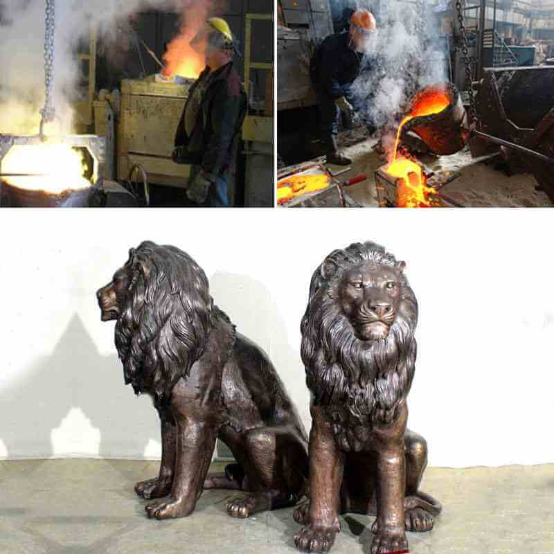 Garden Decoration Casting Bronze Lion Statues for sale