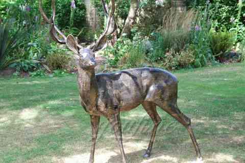Garden decorative antique bronze Deer statue Animal Sculpture for yard BOK-217