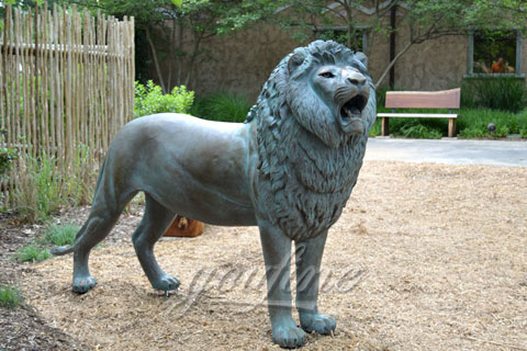 Outdoor Decorative Garden Standing Casting Bronze Lion Statue for sale