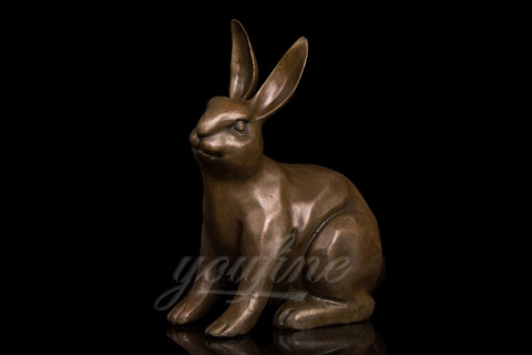 Hot selling life size bronze metal rabbit sculpture for garden decor