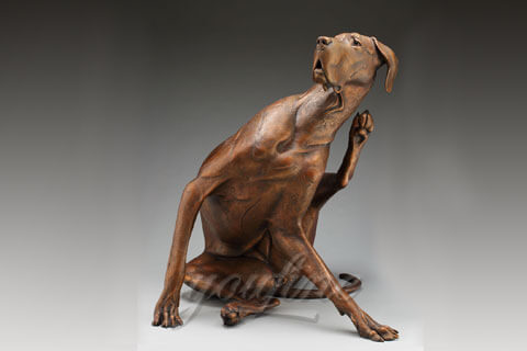 Indoor custom bronze large dog statue for home
