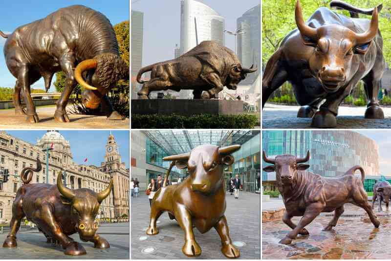 Large outdoor metal garden sculpture bull statue for decoration