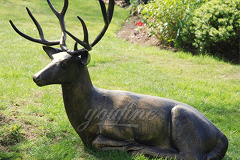 Life size Art Deer statue antique Bronze Animal Sculpture for garden decor
