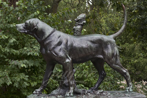 Life size bronze dog sculpture metal statue yard art for decor