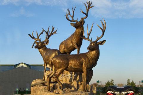 Life size outdoor bronze animal sculpture elk statues for sale