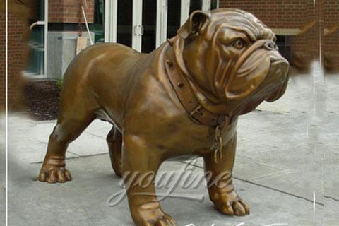 Metal Animal Art Life-Size Cast Bronze Bulldog Statues for sale