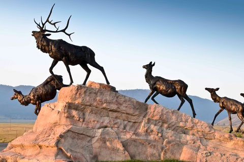 Outdoor antique bronze Deer statue Animal Sculpture for decor