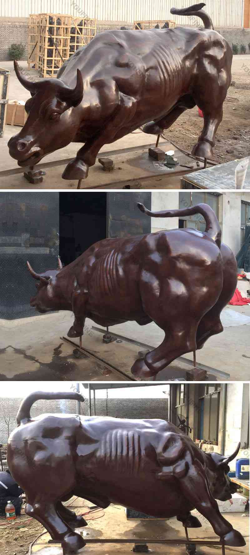 Outdoor brave wall street bull statue bronze animal sculptures for sale