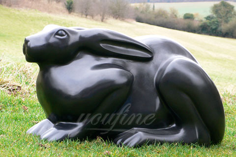 Small Outdoor Life size metal bronze animal rabbit statue on sale