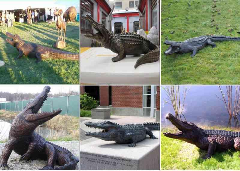 bronze crocodile sculpture
