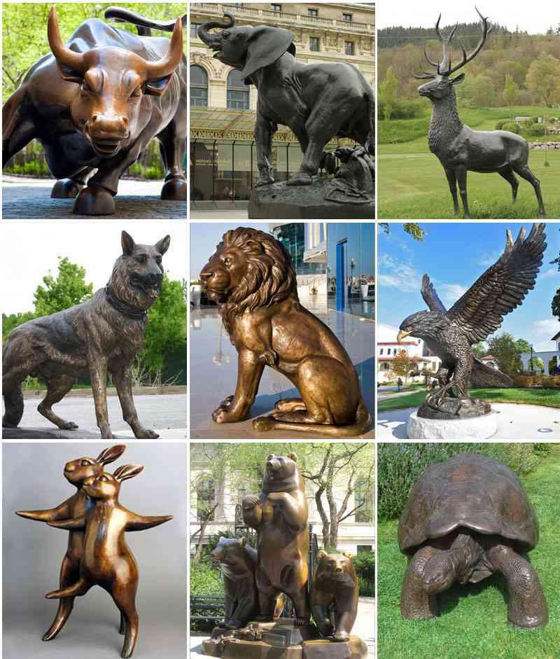 outdoor bronze animal sculpture