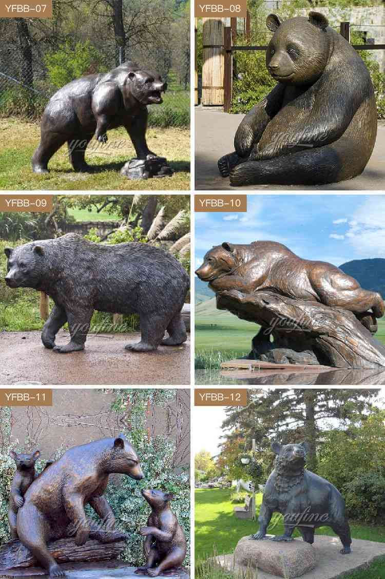 bronze grizzly family sculpture
