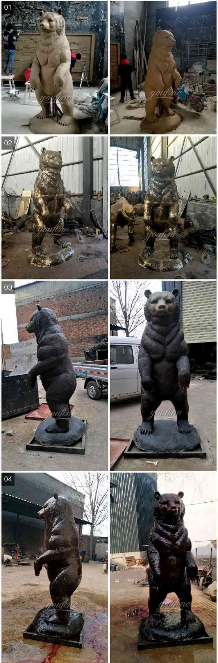 Three bronze bear group sculptures