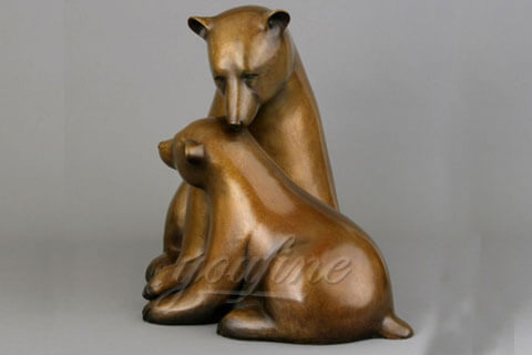 Bronze large animals statue bronze bear statues with babies for garden