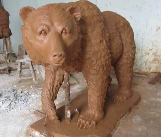 Large Outdoor wildlife bronze black bear clay lawn ornaments sculpture
