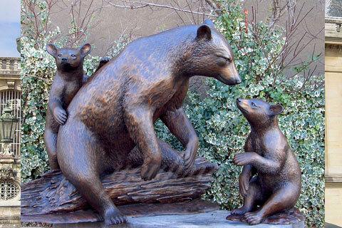 Lovely antique wildlife bronze black bear sculpture for home decor