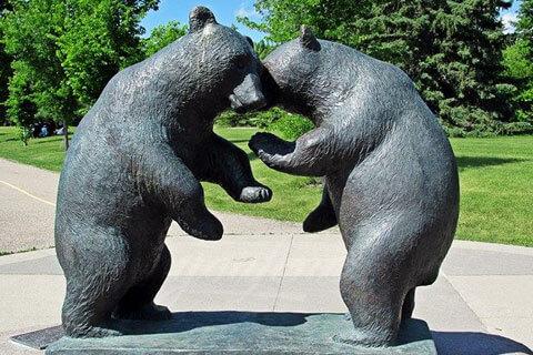 Outdoor life size garden decor bronze animal bear statue for sale