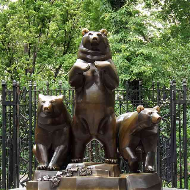 bronze bear group sculpture