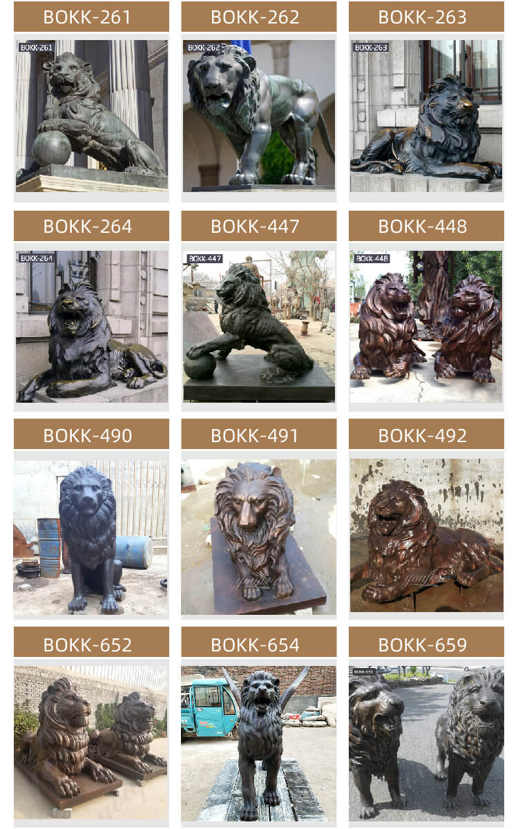 Bronze Foundry Casting Lion Holding the Ball Statues