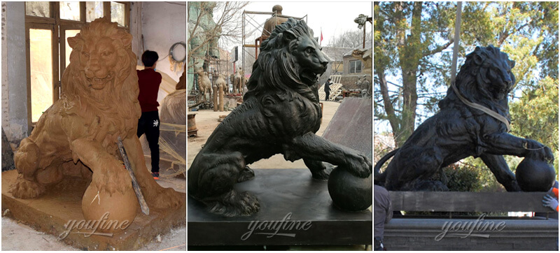 bronze lion holding ball statues