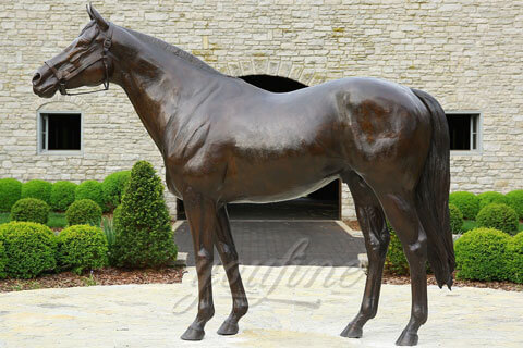 Bronze animal sculpture of standing horse statues for the showroom of equestrian equipment