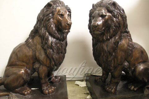 The costs of garden sitting life size bronze lion sculpture for park