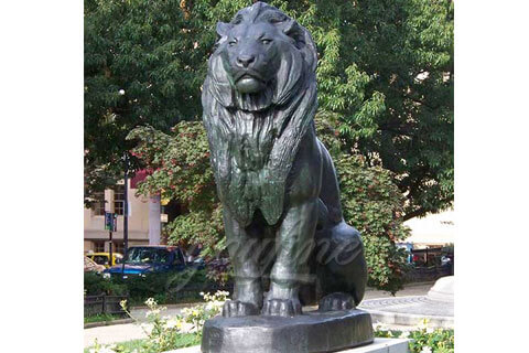 Large outdoor decorative bronze sitting lion backyard statues costs