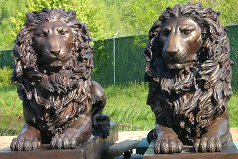 Outdoor garden lawn ornament metal crafts bronze lion statues in pairs for sale