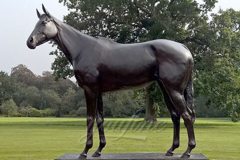 Life size bronze foundry standing horse statues outdoor