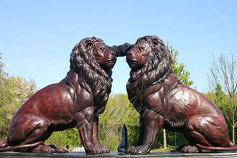 Buy a pair of large life size sitting bronze lion statues for front yard of my home