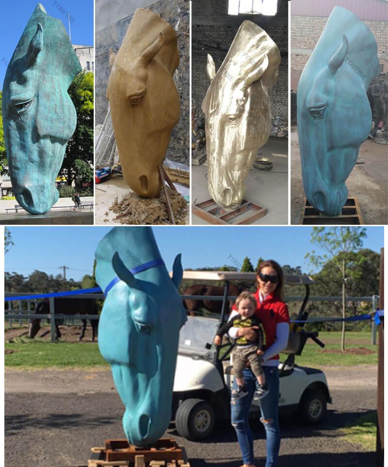 Customized bronze horse head statues