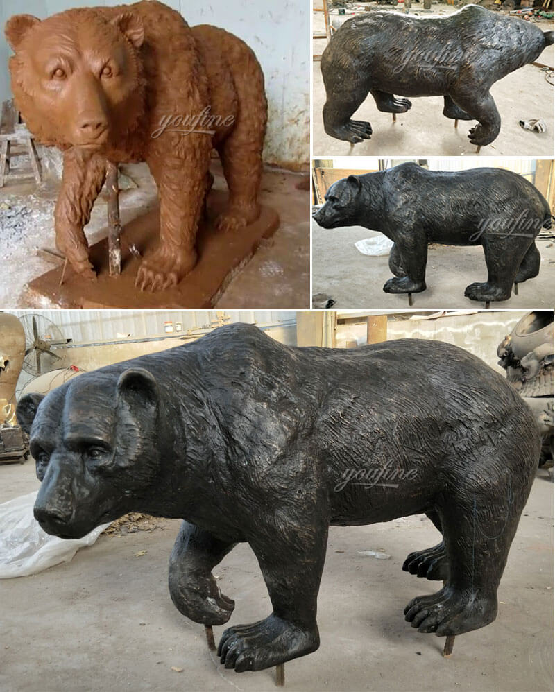 Customized bronze bear statues