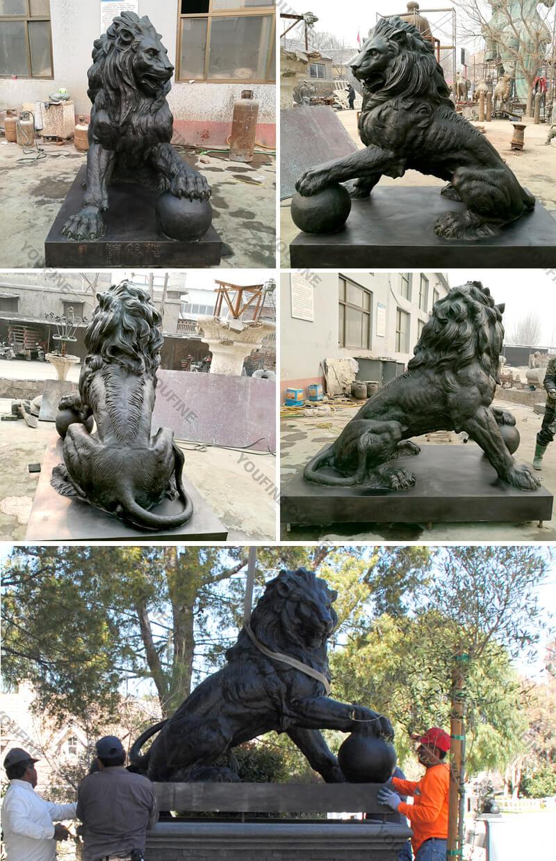 More details of bronze lion statues