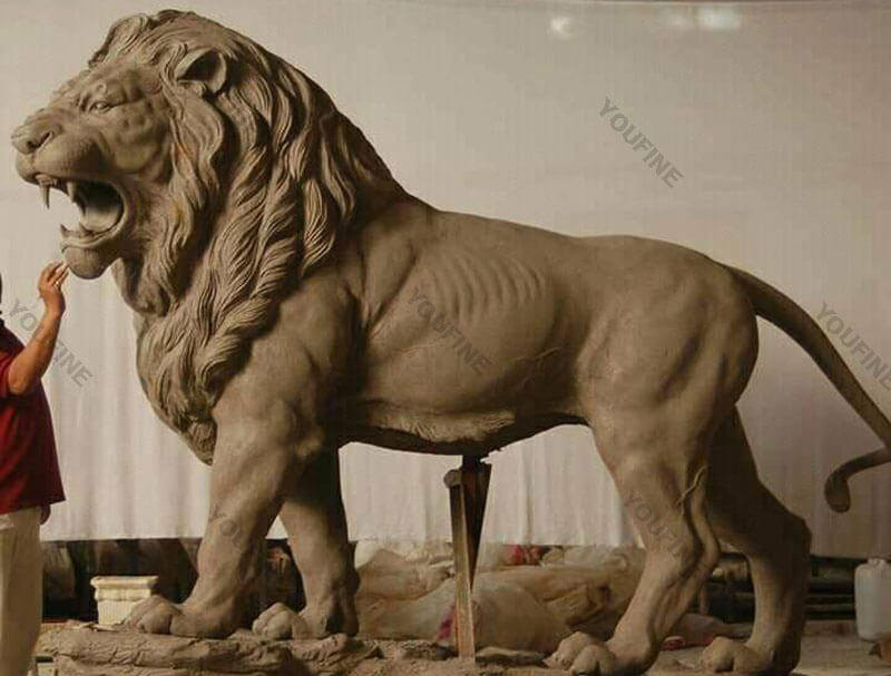 Clay model of lion statues