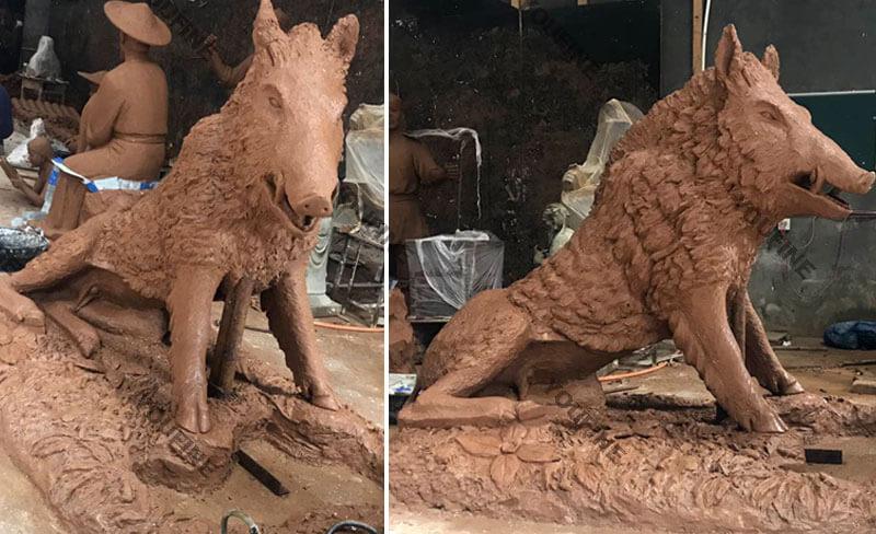 Clay model of wild boar