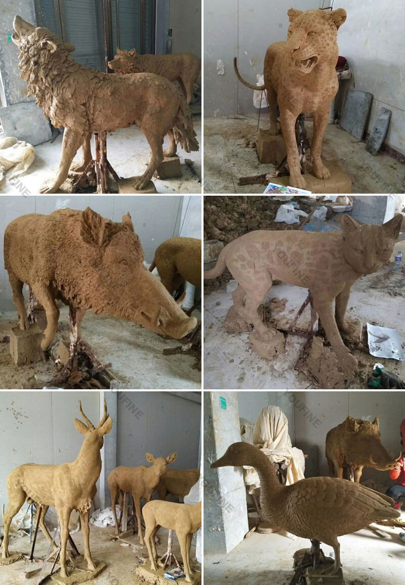 Clay model of wildlife statues