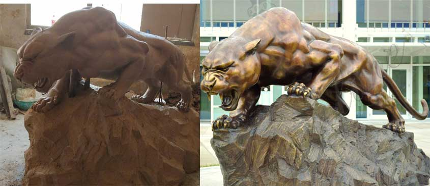bronze-life-size-panther-sculpture-for-school