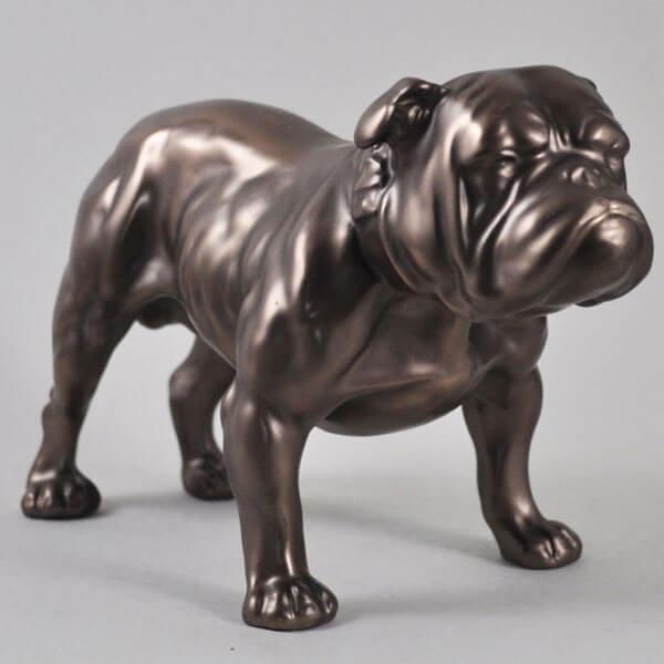 Antique outdoor life size bronze bulldog statue lawn ornament for sale