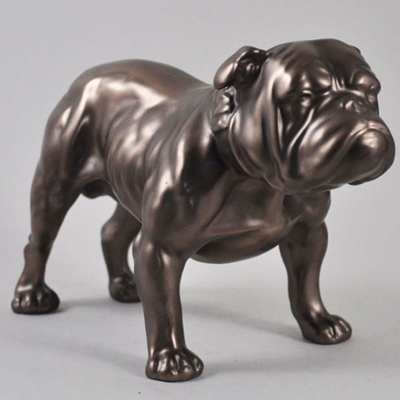 Antique outdoor life size bronze bulldog statues lawn ornament for sale