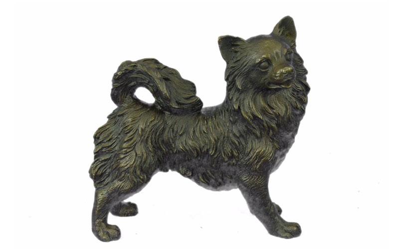 Famous Dog Antique Bronze Statue Life Size Bronze Pomeranian Statues for Backyard Decoration