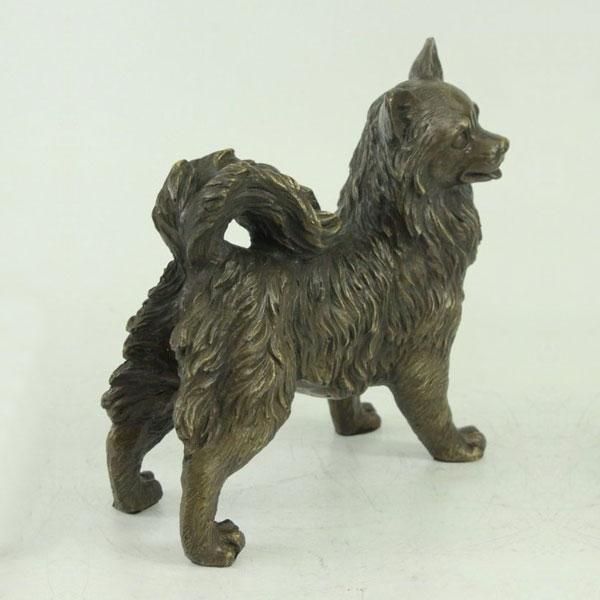 Famous Dog Antique Bronze Statues Life Size Bronze Pomeranian Statue for Backyard Decoration