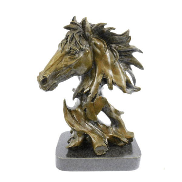 Life Size Unique Gorgeous Antique Casting Bronze Bust Statue Of A Horse Head For Indoor Decor