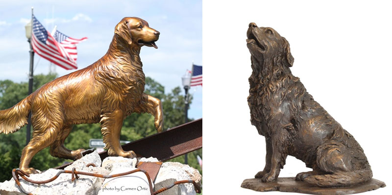 Life size bronze dog statue for home lawn ornaments for sales
