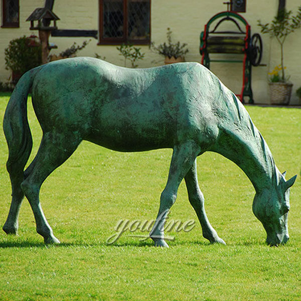 bronze horse eating grass for sale
